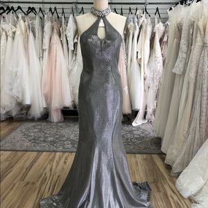 Silver High Neck Low Back Dress